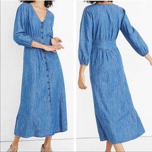NEW Madewell Denim Pieced Waist Midi Dress